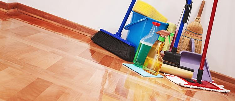 Reinigungsutensilien auf gewischtem Boden